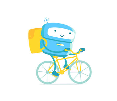 Robot courier. Delivery service. On a bicycle. Mascot. Pizza and fast food delivery. With a backpack. Vector illustration.
