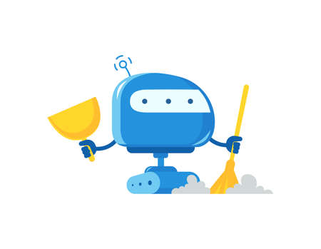 Robot with broom and scoop cleaner. Housework cleaning service. Artificial Intelligence. Vector illustration.
