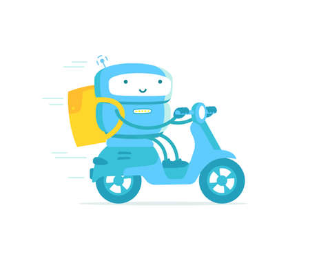 Robot courier. Take away. Delivery service. Rides a motobike. Fast food delivery. With a backpack. Vector illustration. Illustration