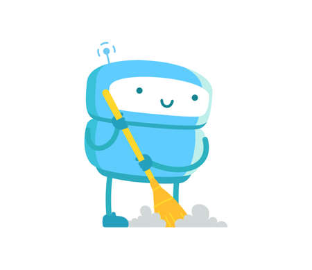 Robot janitor with broom cleaner. Housework cleaning service. Artificial Intelligence. Vector illustration.