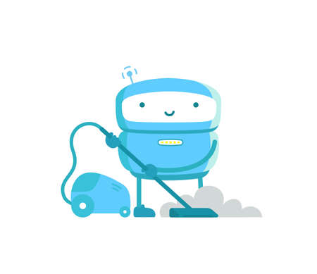 Robot with vacuum cleaner. Housework cleaning service. Artificial Intelligence. Vector illustration.