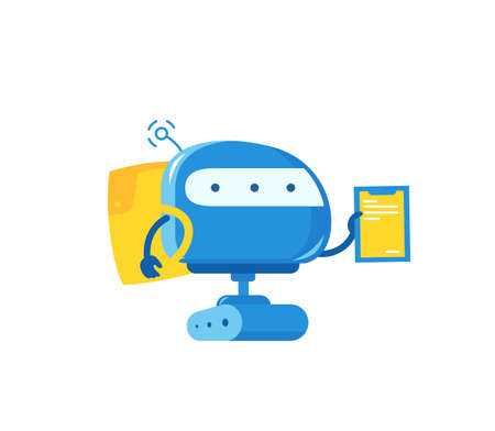 Robot courier. Delivery service. With a backpack. Vector illustration.