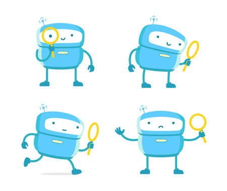Robot with magnifying glass set. Loupe search. Flat color vector illustration. 向量圖像