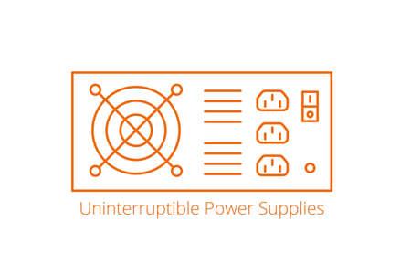 UPS. Uninterruptible power supplies. Input power source when mains power fails. Electrical apparatus. Vector line. Open paths. Editable stroke. 向量圖像