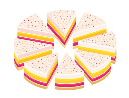 Pieces of pie cake. Cut cake and its slice parts split up. Isometric view. Vector illustration set.