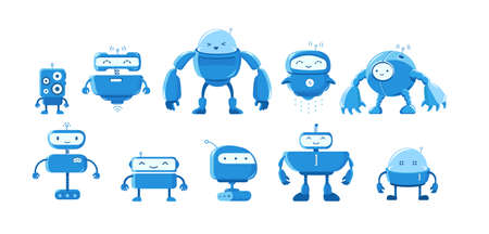 Robot mascot variety set. Different types for all tasks. Smart character. Cartoon vector flat.