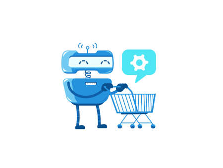 Robot with a grocery trolley. Delivery of spare parts. Upgrade. Cartoon flat vector illustration.