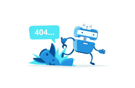 Missile crashed Page not found error 404. Robot ran mascot character. Support service-center repair. Vector illustration. Running for help.