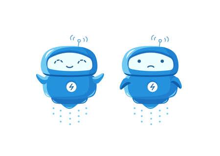 Little flying Robot mascot character. Good luck and bad luck. Joyful and sad. Chat bot. Cartoon vector illustration.