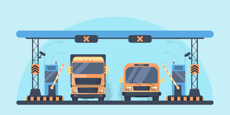 Toll highway. Toll gate construction. Arch for automatic charging on a toll road. Bus and lorry truck on roadway.