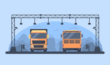 Toll highway. Checkpoint on the toll road. Toll gate construction. Bus and lorry truck on roadway.