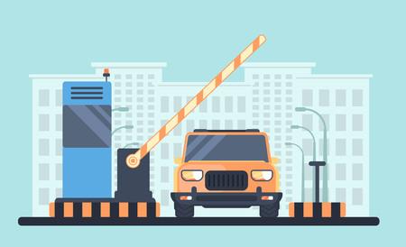 Eintritt durch die Schranke, die angehoben wird, um das Auto zu passieren. Mautstelle mit Empfangskabine. Checkpoint zum Wohngebiet.