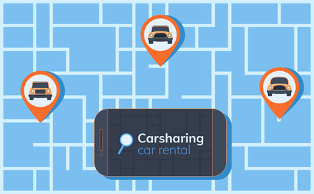 Carsharing service illustration. Abstract urban map with geolocation mark, different cars and smartphone. Online rental car.