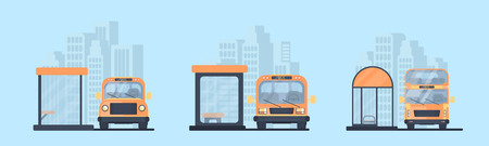 Set of different city bus stop and bus. Transport for transportation of passengers Vector flat illustration.