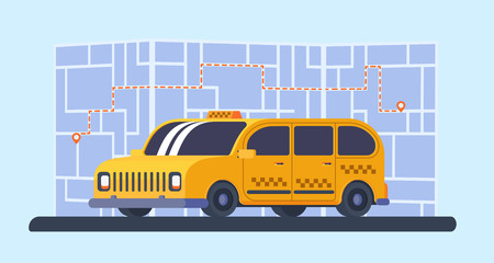 Taxi minivan car with map and way on background. Geolocation marker with route. Illustration