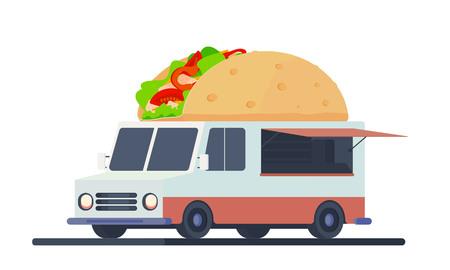 Mobile shop for taco sale. 向量圖像