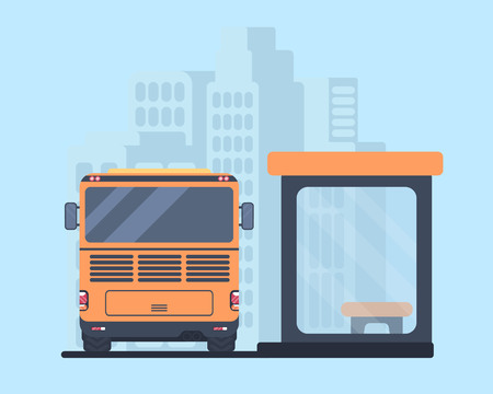 Travel bus and bus stop.