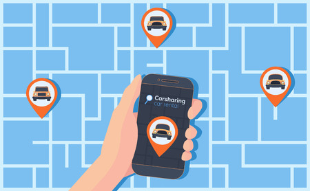 Carsharing service illustration. Abstract urban map with geolocation mark, different cars and smartphone in hand. Online rental car. Illustration