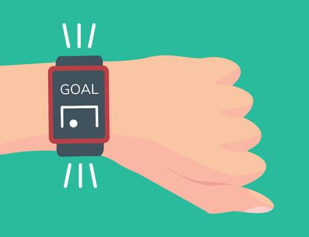 Árbitro asistente de fútbol electrónico. Sistema de determinación de metas. Mano con reloj inteligente. Tecnología de línea de gol.