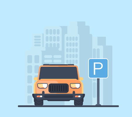 Parking lot with car in city. Sign for parking area. Flat vector illustration. Иллюстрация