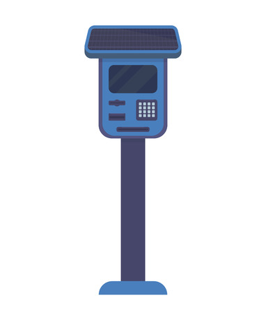Parking meters for parking lot. Electronic payment terminal for paid parking with a solar battery. Flat vector illustration