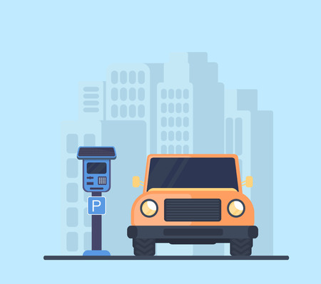 Parking lot with car in city. Electronic payment terminal or meters for paid parking with a solar battery. City background Flat vector illustration.