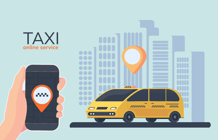 Online Taxi car service. Online cab booking. Service for transportation passengers. Minivan with city background. Mobile phone in hand with geolocation mark. Flat vector illustration.