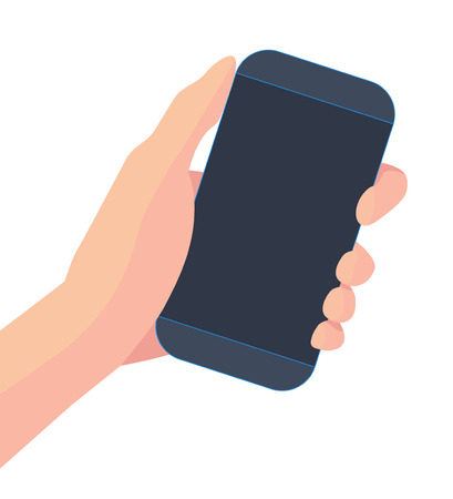 Smartphone in hand isolated on white background. Vector illustration.