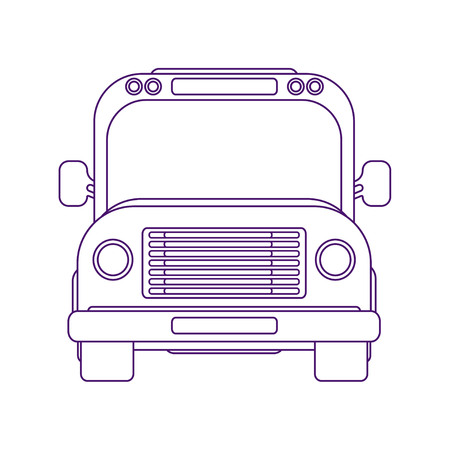 City bus. School bus. Vehicle for transportation passengers. Excursion bus. Front view vector illustration. Line art style.
