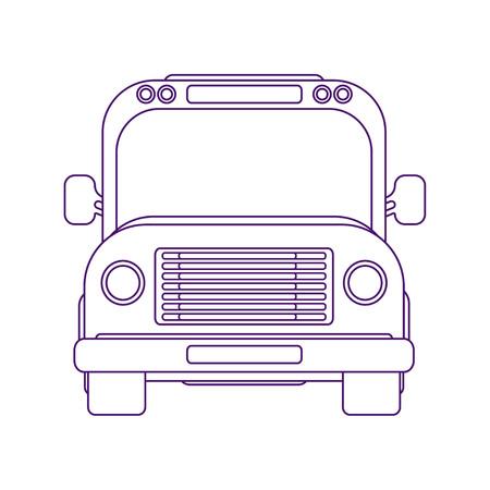 Stadsbus. Schoolbus. Voertuig voor vervoer van passagiers. Excursiebus. Vooraanzicht vectorillustratie. Line art stijl.
