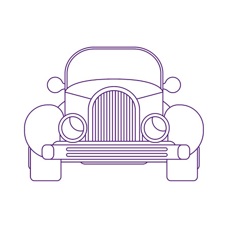 Retro hot road car. Front view american roadster. Vector line art style illustration. 矢量图像