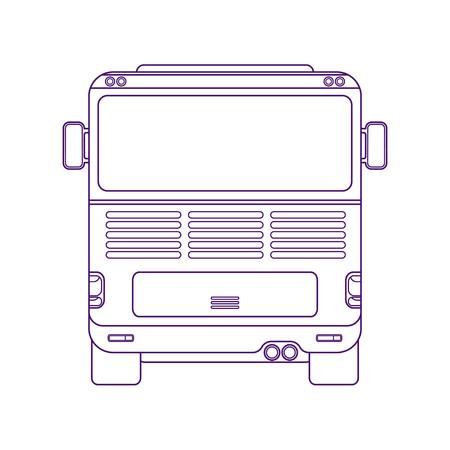 City bus. Intercity bus. Vehicle for transportation passengers. Excursion bus. Back view line art style vector illustration.