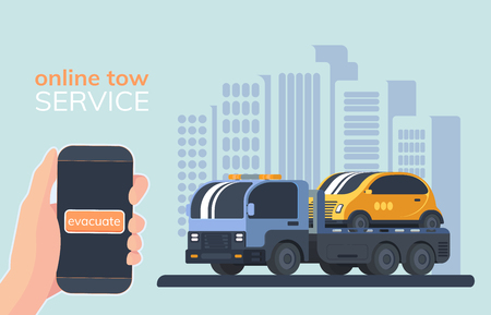 Online service for evacuate of faulty vehicles. Tow truck. Wrecker car. Lorry with platform. Road service and help. City background. 矢量图像