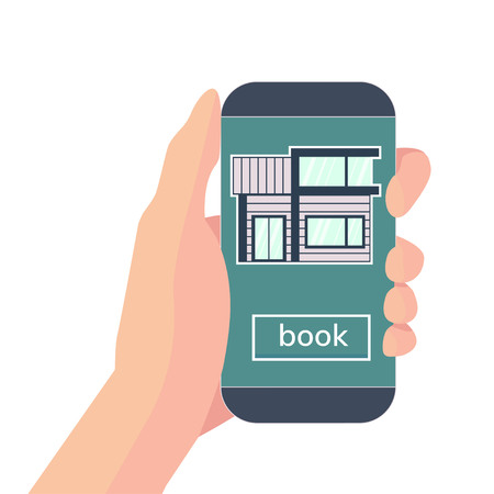 Online booking house. Hand with smartphone and application for reservation house for rent. Vector flat illustration isolated on white.