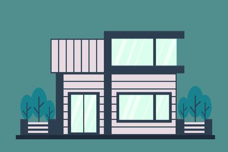 Modern house. Flat vector illustration.