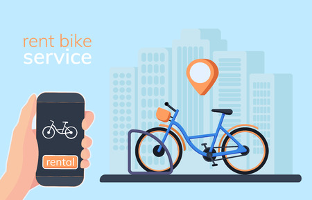 Fietsdeelsysteem met gebruik smartphone te huur en betaald. Slimme service voor huurfietsen in de stad. Mobiele app voor het delen van systeem. Vector Illustratie