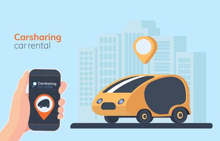 Carsharing service illustration. Urban landscape on background, geolocation mark, car and smartphone in hand. Online rental car. Flat vector illustration.