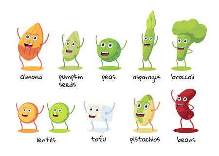 Ensemble de drôles de personnages d'aliments riches en protéines. Haricots, brocoli, asperges, tofu, pois, lentilles, amandes, pistaches, graines de citrouille. Ressource de protéines végétaliennes Illustration vectorielle plane