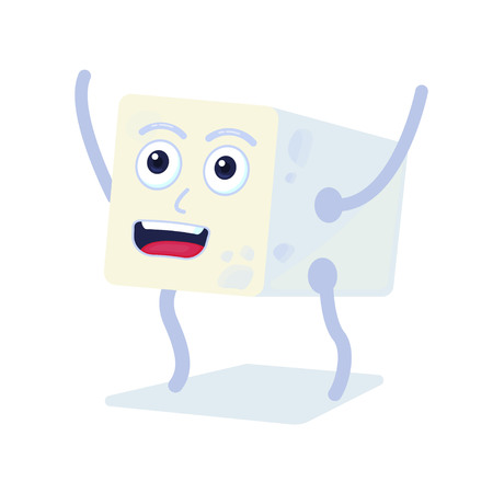 Cute tofu character. High protein resource. Vegeterian food. Vector flat illustration.