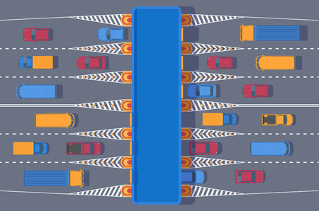 Checkpoint of collection on autobahn and toll road . Car and roadside point. Highway toll area with transport. Top view illustration.