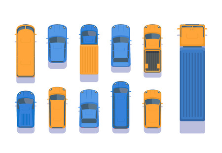 Set of different types of transport. Top aerial view illustration. City car, pick up, SUV, bus, lorry, heavy truck, van, microbus. Vector illustration isolated on white