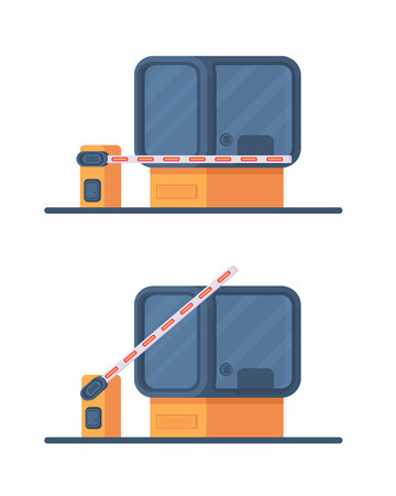 Booth for security and control over the admission of cars. The collection is drilled on the toll road. Checkpoint with a rising and lowering barrier. Vector illustration in flat style isolated on white.