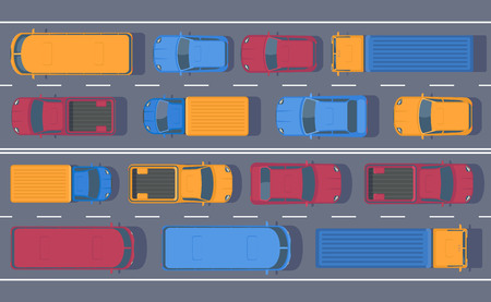 Road dence traffic on motorway or highway. Different car on road. Traffic jam. Stock Photo