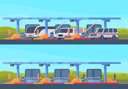 Checkpoint on toll highway. Booth with a rising and lowering barrier. Car and roadside point. Highway toll area with transport. Vector flat illustration. Stock Illustratie