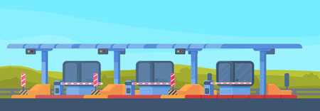 Checkpoint on the toll road. Payment of tolls on the toll road. . Bus and lorry truck on roadway. Checkpoint with a rising and lowering barrier. Vector illustration.