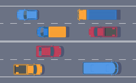 Road traffic. Free flow of machines on a multi-lane road. Different car on highway. Top view vector illustration.