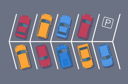 Parking lot or zone. Car parking area or space. Top view vector illustration.