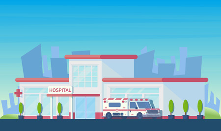 Medical hospital building with ambulance car. City center for medical care for patients. Emergency hospital. Illustration