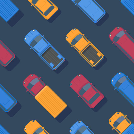Vector seamless colorful car pattern. Vehicle background. Top view flat illustration.