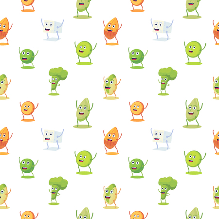 Seamless pattern with high protein vegan food characer. Almond, lentils, tofu, pistachio, pumpkin seeds, broccoli, pea cute character. Vector flat style. Food background.